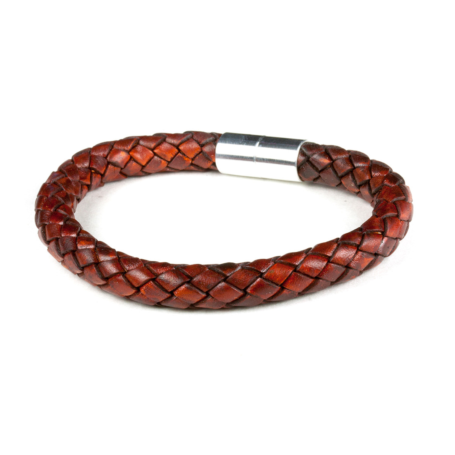 Pro Leather Magnet Therapy Bracelet Medium Brown 8mm