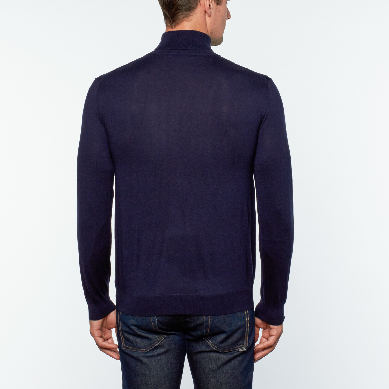 Utku Silk Cashmere Turtleneck Sweater Navy Blue