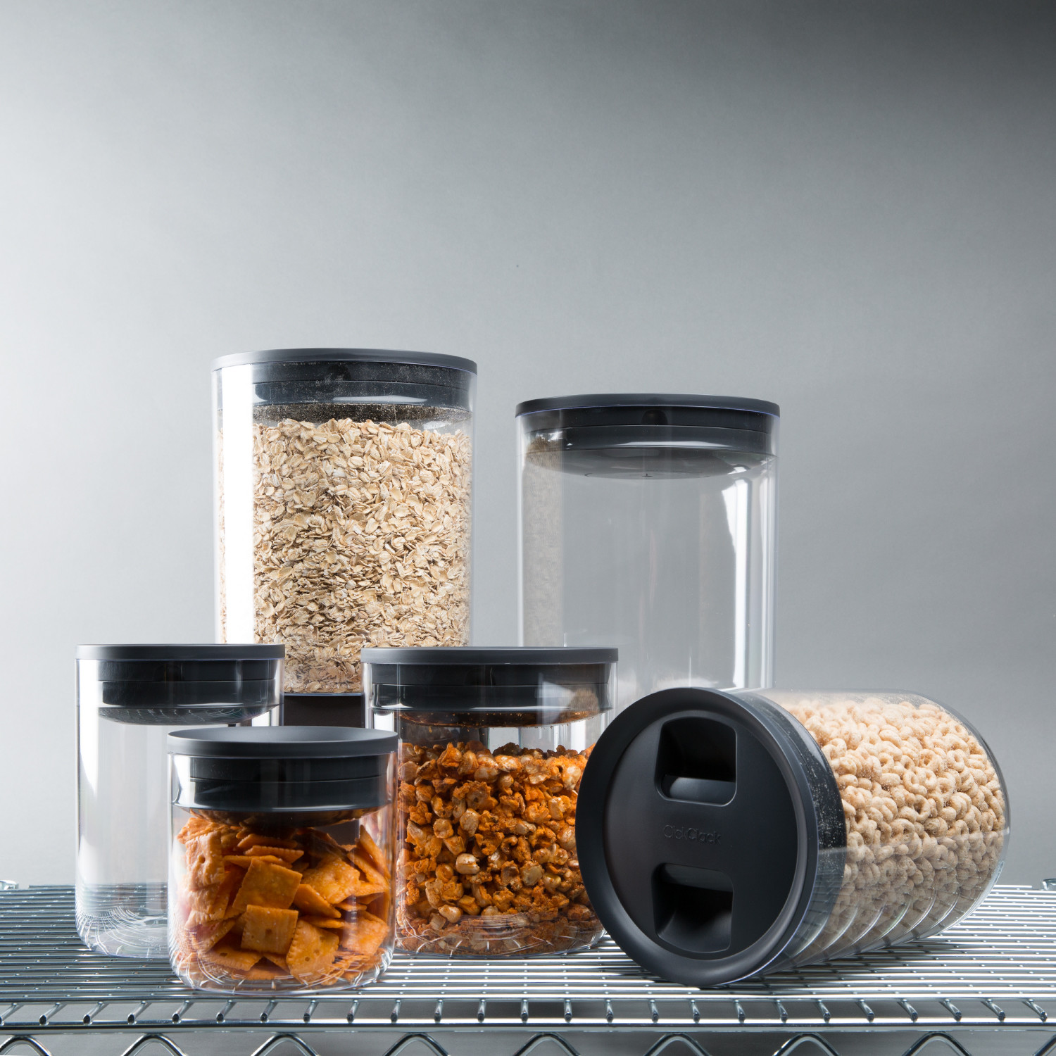 Pantry Canisters Set Of 6 - Click Clack Touch Modern
