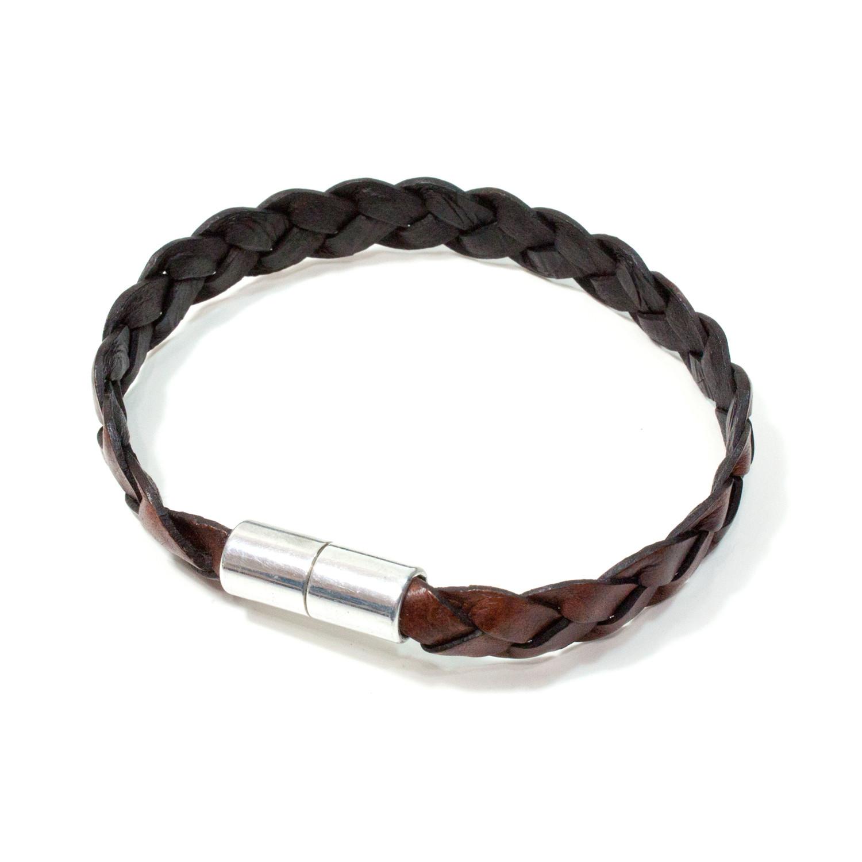 Big Sur Flat Braided Leather Bracelet Aluminum Clasp