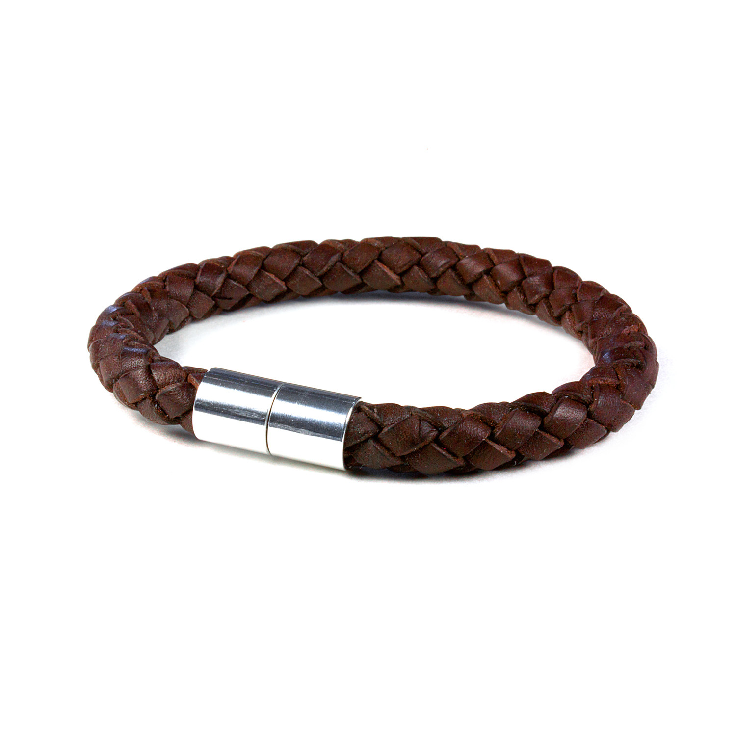 Pro Leather Magnet Therapy Bracelet Dark Brown 8mm