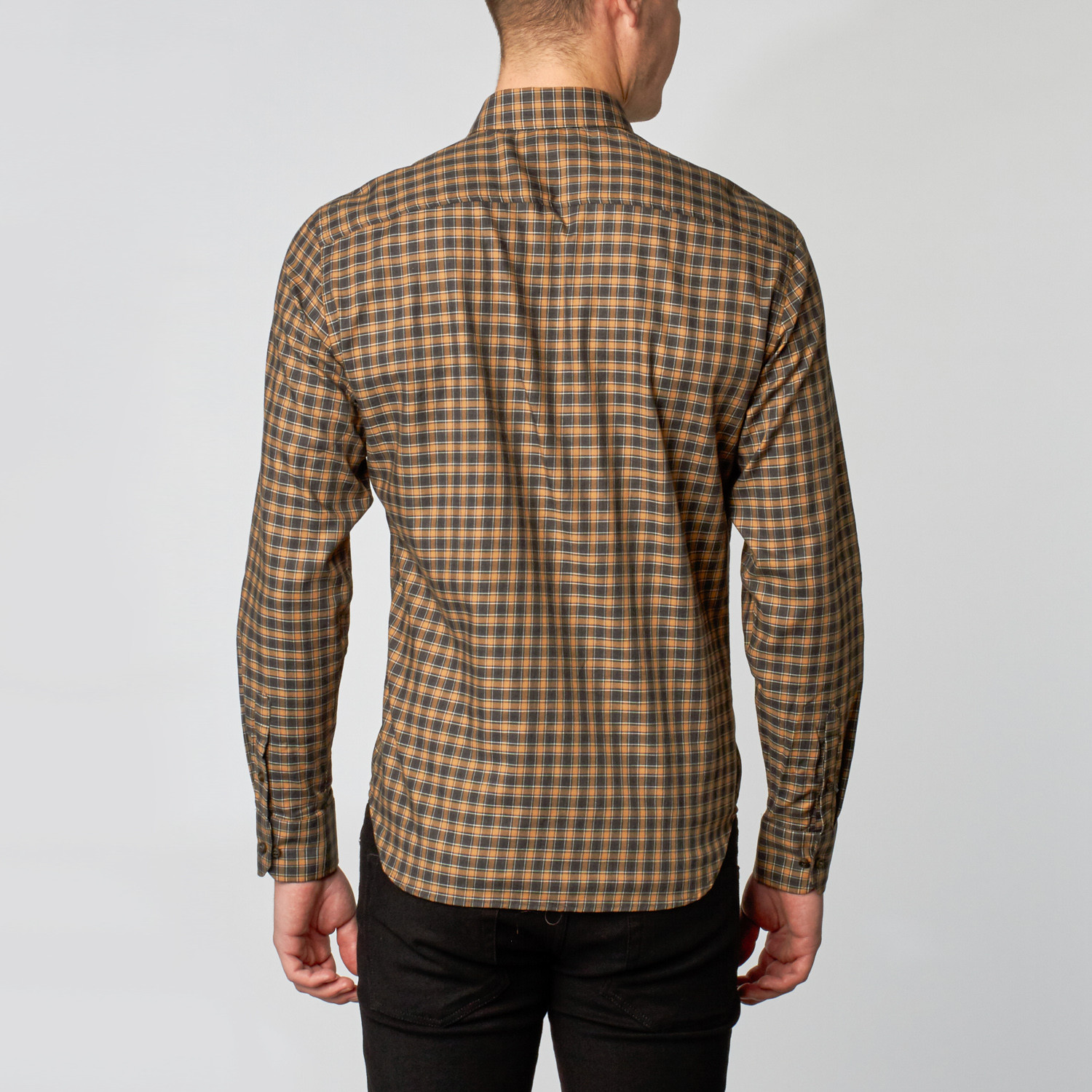 Button- Collar Dress Shirt Saddle Charcoal Plaid