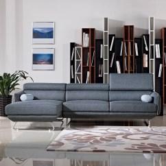 Aria Fabric Modern Sectional Sofa Set Miami Contemporary Leather Divani Casa Pierce Blue Vig