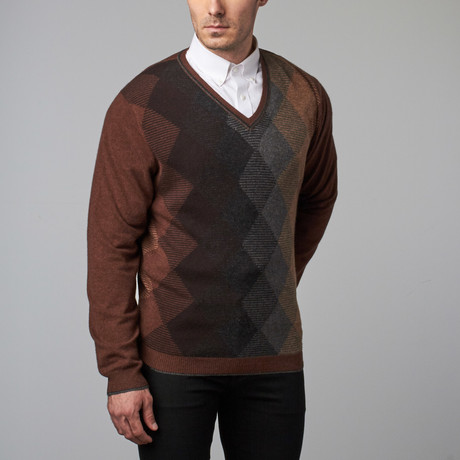Cashmere Argyle V-Neck Sweater // Vicuna (S) - Lenor Romano - Touch of Modern
