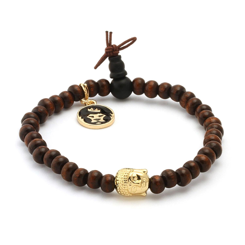 Brown Wood  Gold Buddha  Meditation Bracelet  Marz Lyfe  Touch of Modern