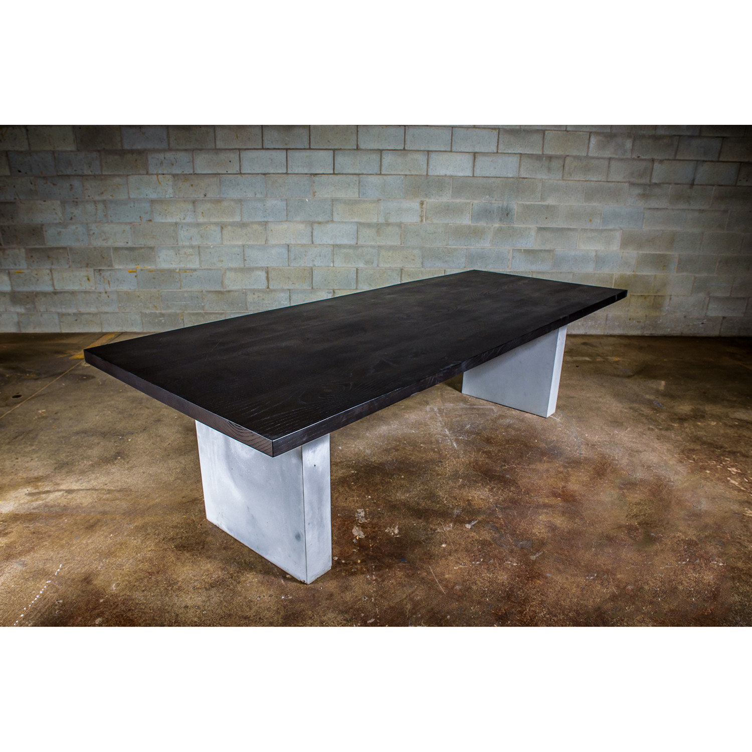Dining Table Black Stained Ash Wood Concrete Legs 72