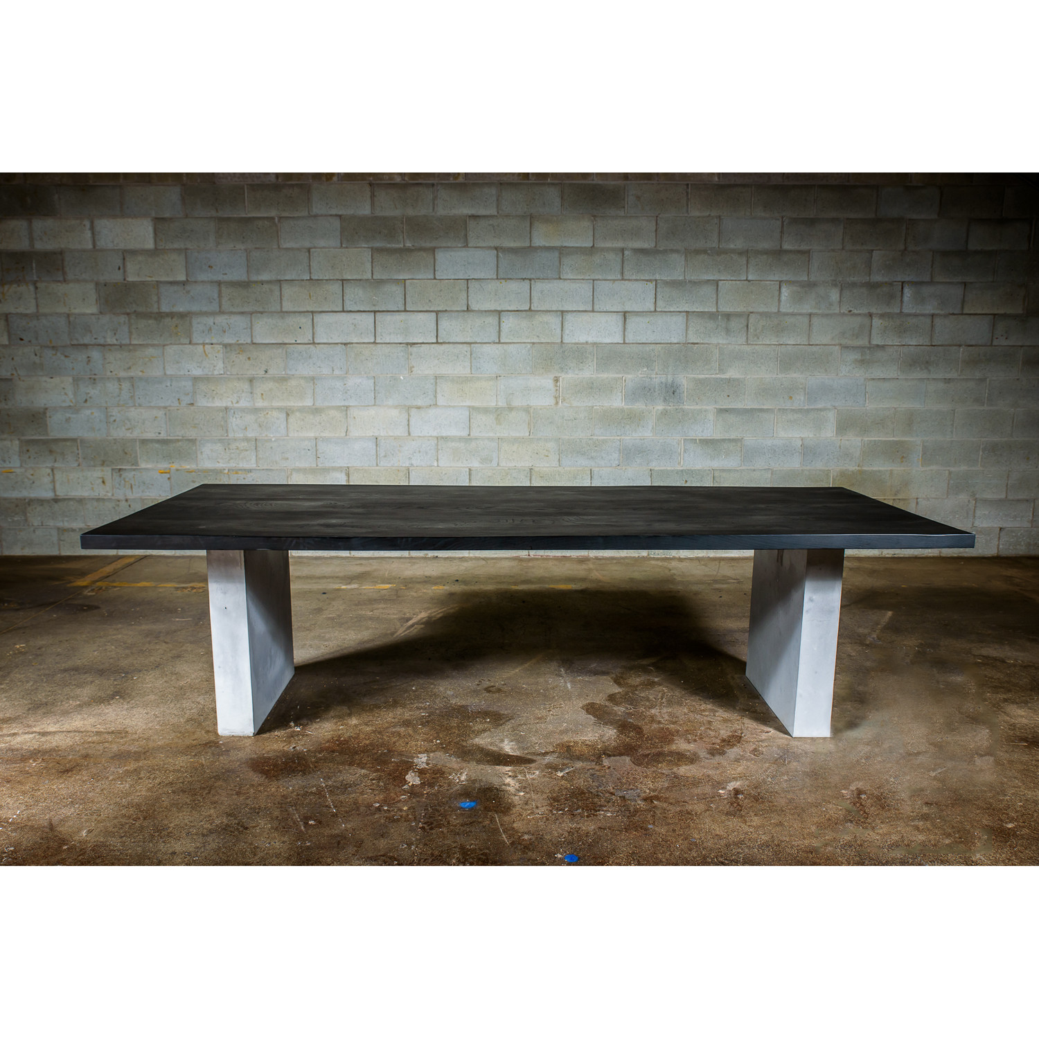 Dining Table Black Stained Ash Wood Concrete Legs 96