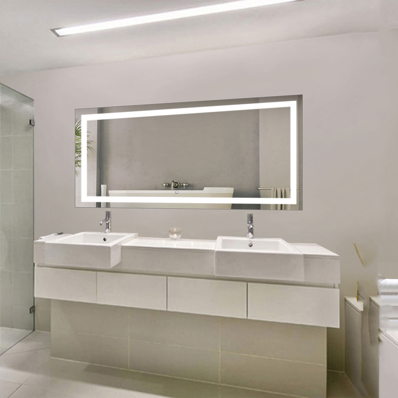 LED Bathroom Mirror  Defogger  Dimmer  Horizontal 60L x 30W  Krugg Reflections  Touch