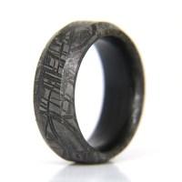 Beveled Meteorite Ring // Carbon Fiber Liner (5) - Patrick ...