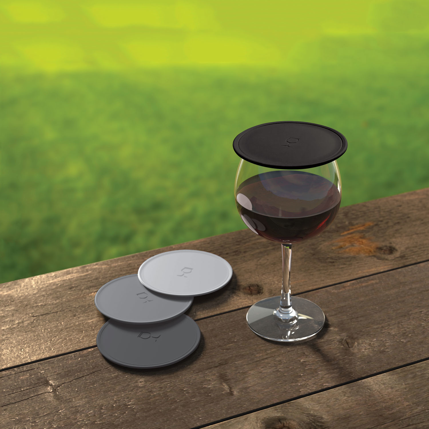 Drink Tops Tap Seal Wine Glass Covers Set Of 4 Black