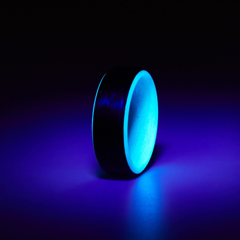 Carbon Fiber Glow Ring // Black + Blue (10)