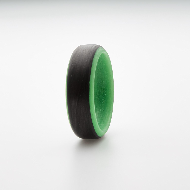 Carbon Fiber Glow Ring // Black + Green (12)