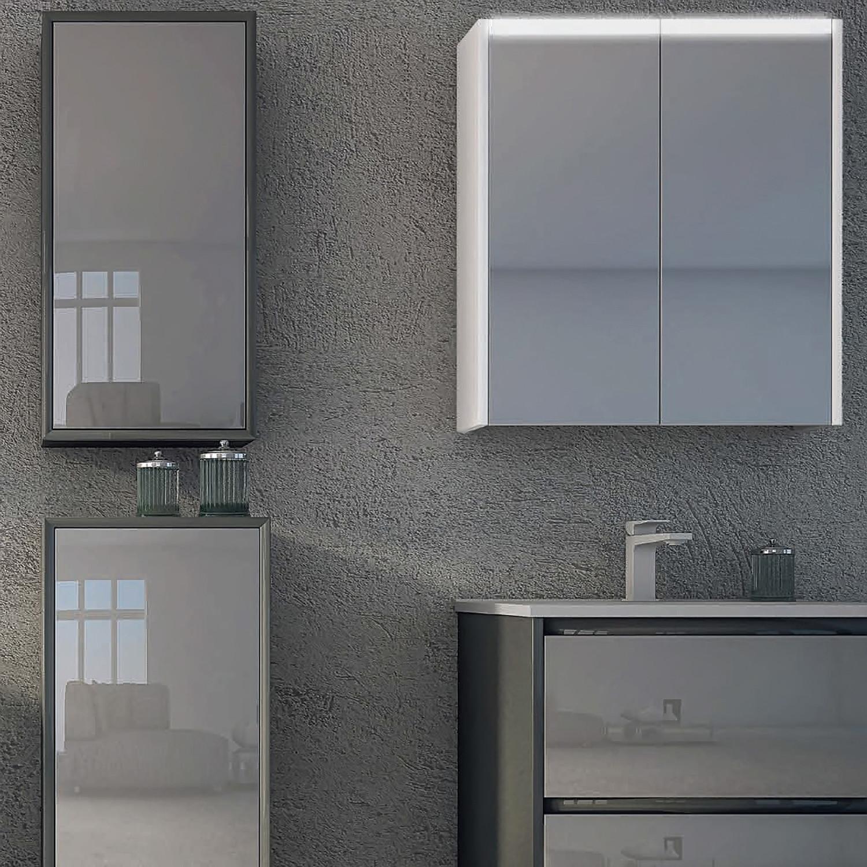 Double Mirror Bathroom Medicine Cabinet  Horizontal LED