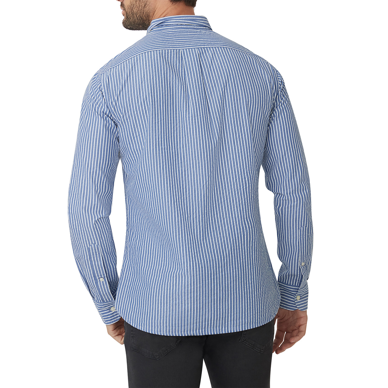 Blue White Jameson Stripe Button Down Shirt // Blue + White (M) - Jomers - Touch of Modern