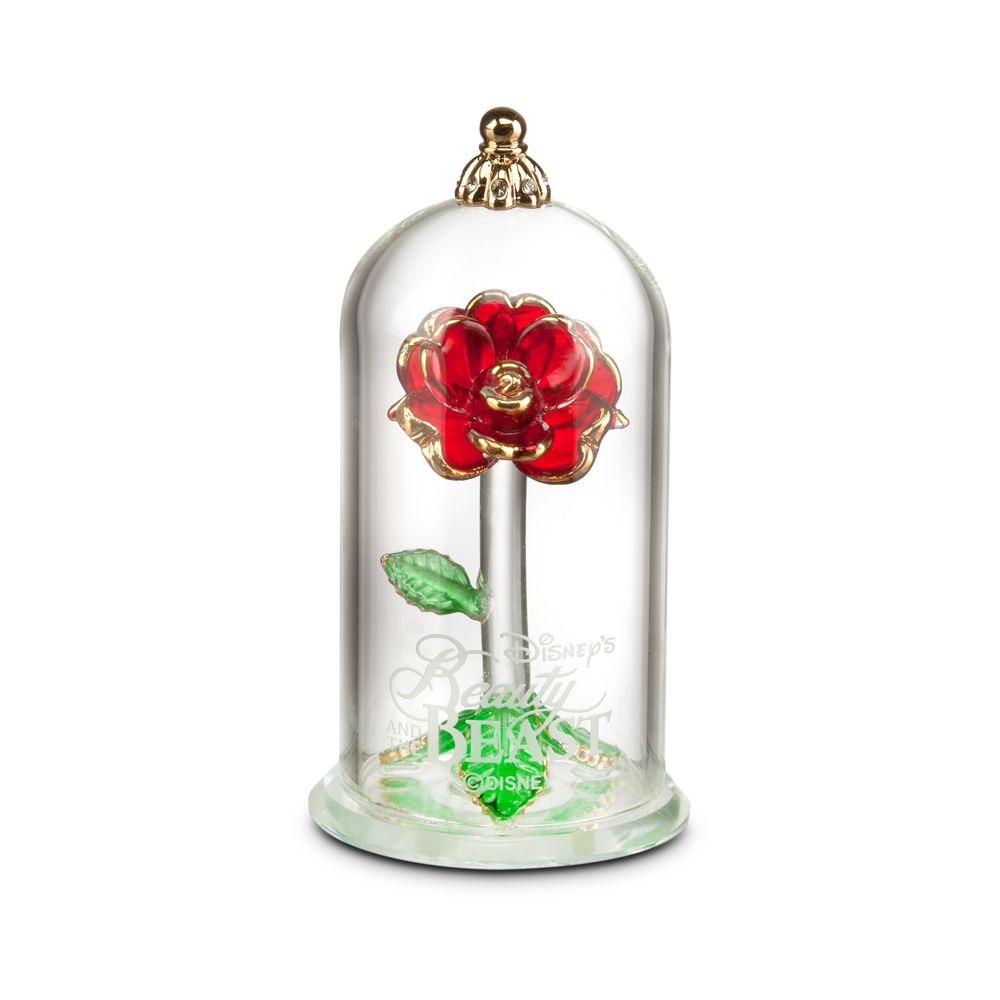 Beauty And The Beast Enchanted Rose Glass Sculpture By