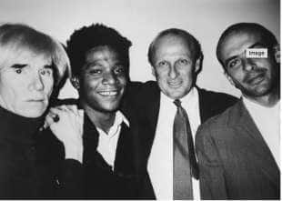 Bruno Bischofberger con Andy Warhol, Jean-Michel Basquiat e Francesco Clemente (New York,1984)