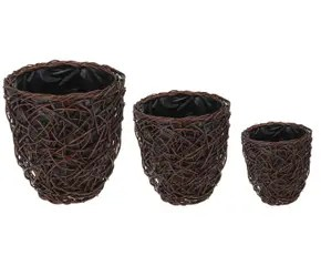 Vasi In Rattan Prezzi.Vasi In Rattan Set Polyrattan Vimini 3 Fioriere Prezzi And