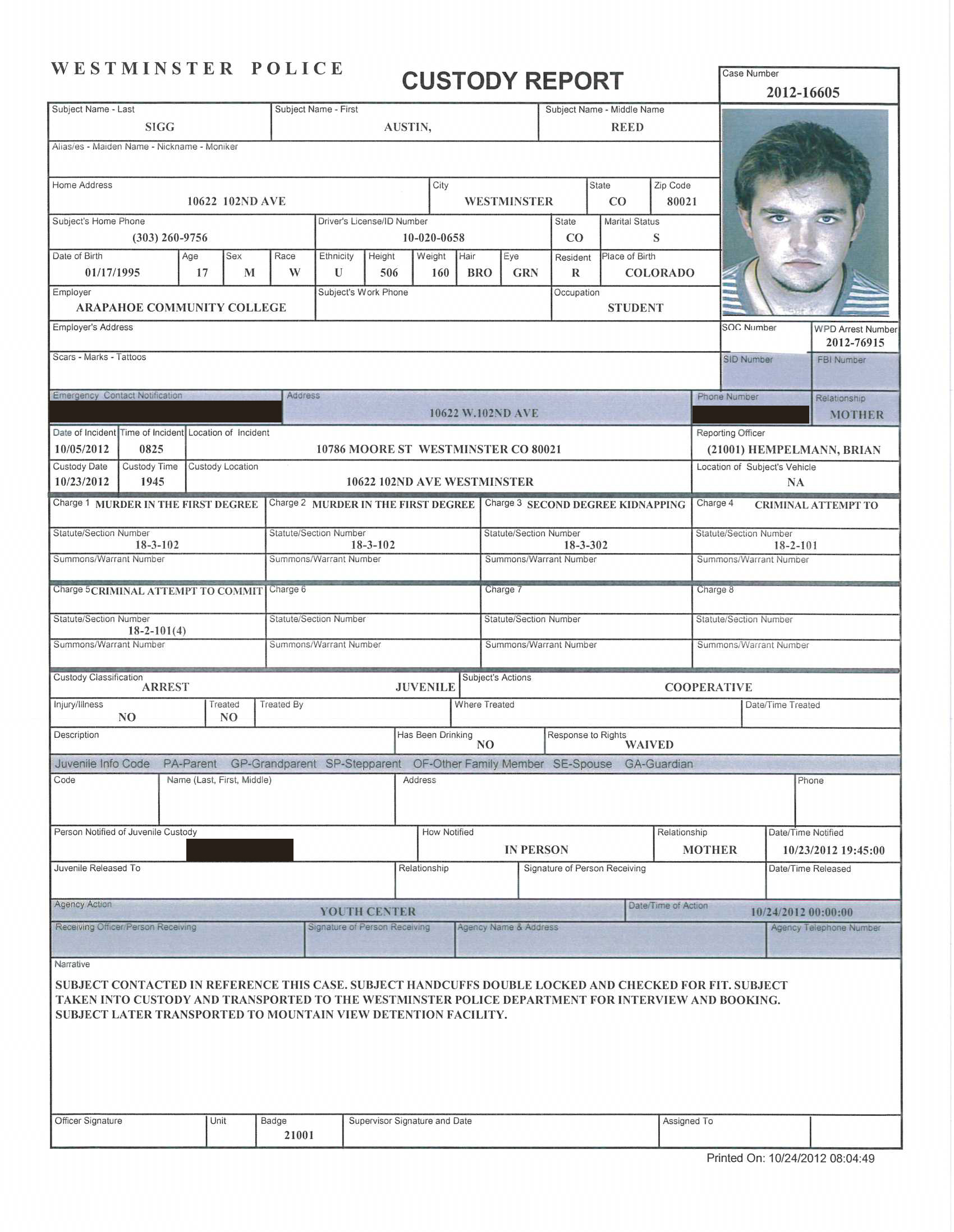 Austin Sigg Custody Report