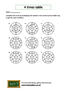Free 4 times table worksheets at Timestables.co.uk
