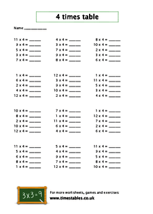 free 4 times table worksheets