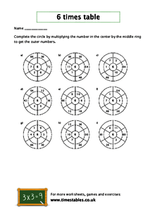 Free 6 times table worksheets at Timestables.co.uk