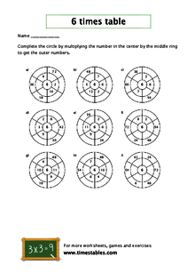 Free 6 times table worksheets at Timestables.com