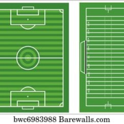 Football Pitch Diagram To Print 2001 Ford F150 Ac Wiring Soccer Attack Canvas Barewalls Posters Prints Bwc15629556 Scale Vector Diagrams Of A And An American Field With All Markings Dimensions