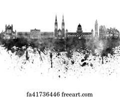 Free art print of Paris skyline in black watercolor
