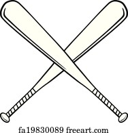 Free art print of Baseball Field with Crossed Bats. Vector