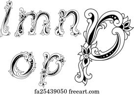 Free art print of Floral N. Floral initial capital letter