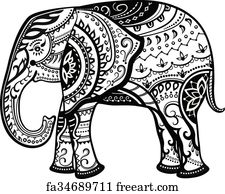 Free art print of Ethnic ornamented baby elephant. The