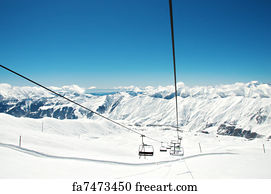 buy ski lift chair barber chairs cheap free art print of on bright winter day freeart