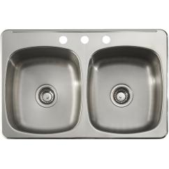 Kitchen Sinks Eurostyle Cabinets Home Hardware 31 X 20 7 Double Stainless Steel 3 Hole Sink