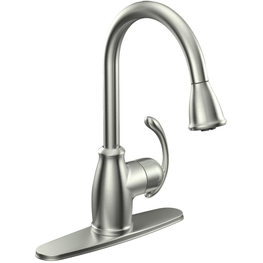 faucets kitchen white marble countertops home hardware terrace stainless steel pulldown faucet deck thumb