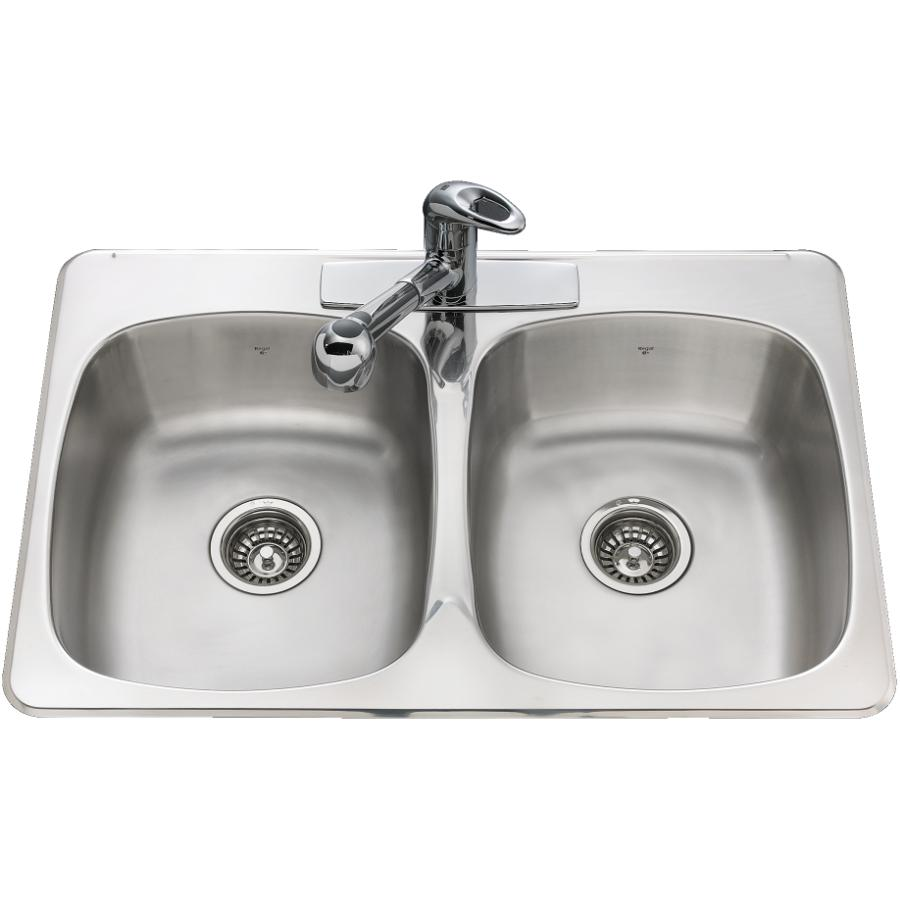 kitchen sink white grohe faucet sinks home hardware 31 x 20 7 double stainless steel 3 hole