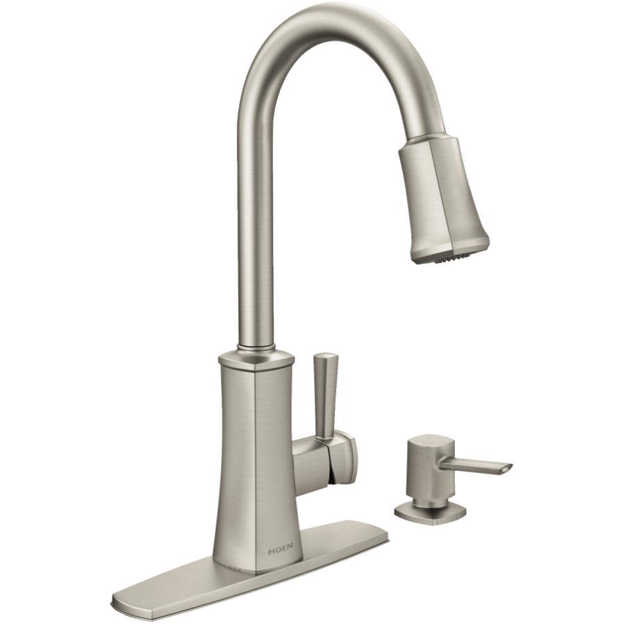 moen bridgestone stainless steel pulldown spot resist kitchen faucet with soap dispenser