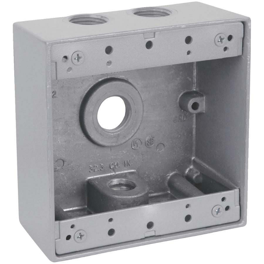 medium resolution of 2 gang silver weatherproof metal wiring box with 3 threaded outlets