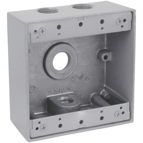 small resolution of 2 gang silver weatherproof metal wiring box with 3 threaded outlets