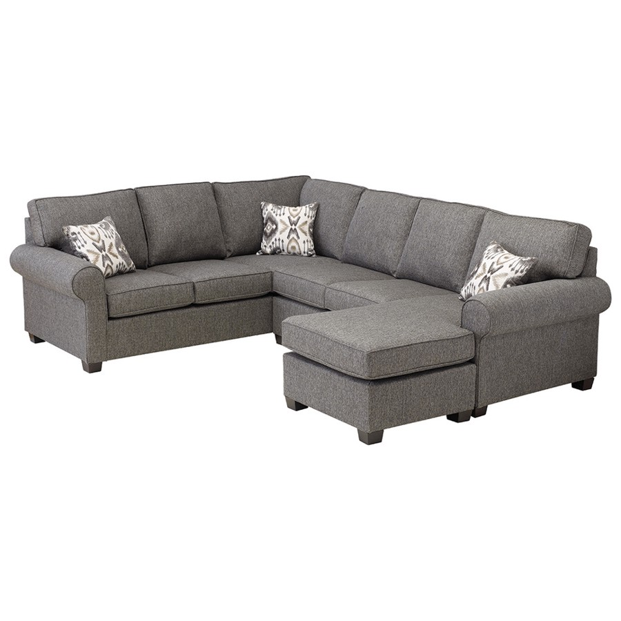 grey tweed sectional sofa small sleeper paiano 2 piece hanson home hardware canada product image