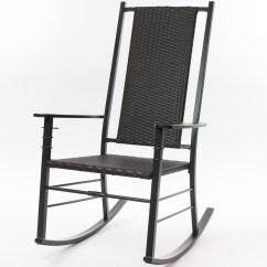 Black Wicker Rocking Chair Outdoor Mesh Folding Chairs Cracker Barrel Old Country Store Palm Harbor