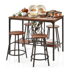 Pub Style Table And Chair Set Turquoise Outdoor Cushions Wood Metal Dining Stools 5 Piece Chairs