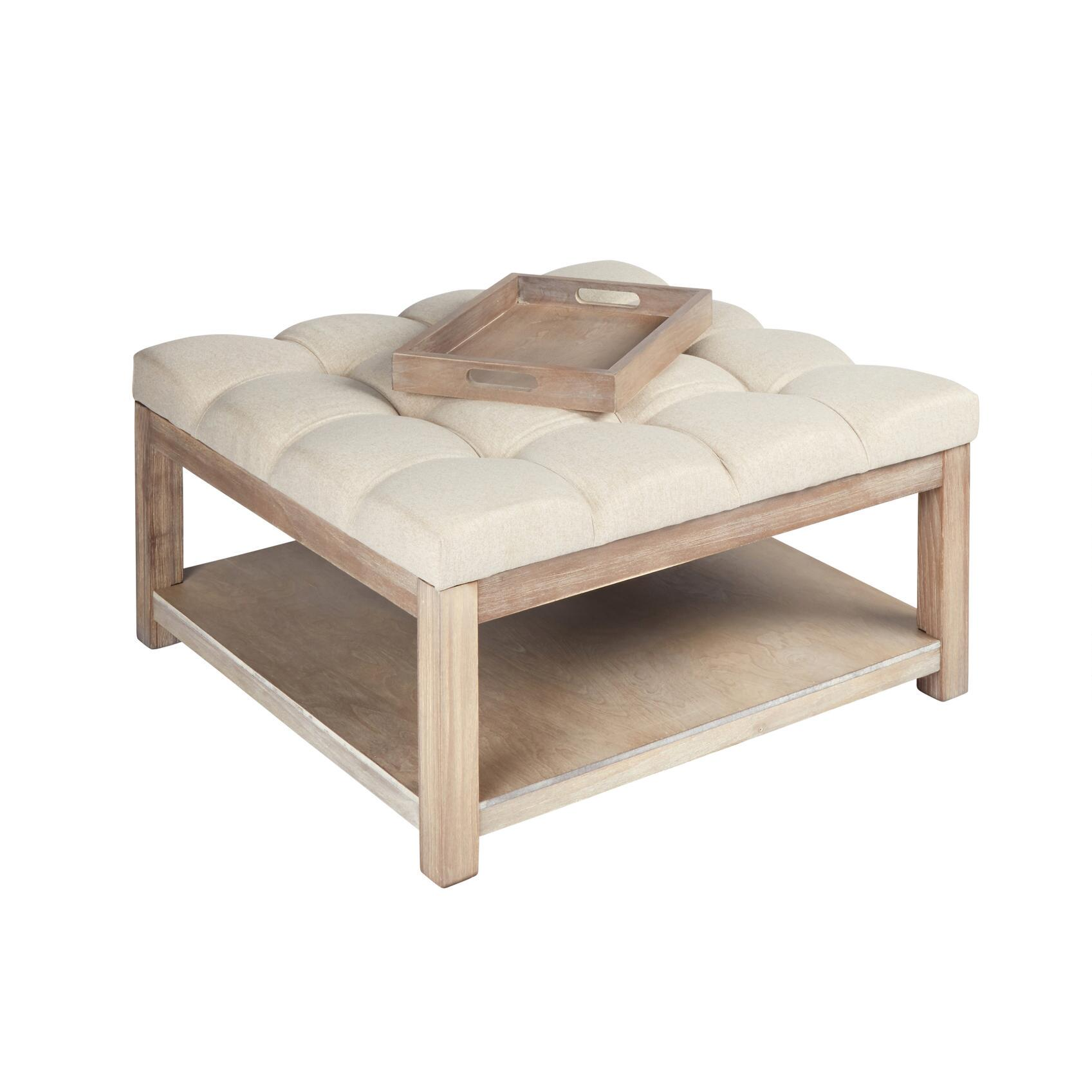 the grainhouse tufted coffee table ottoman with tray