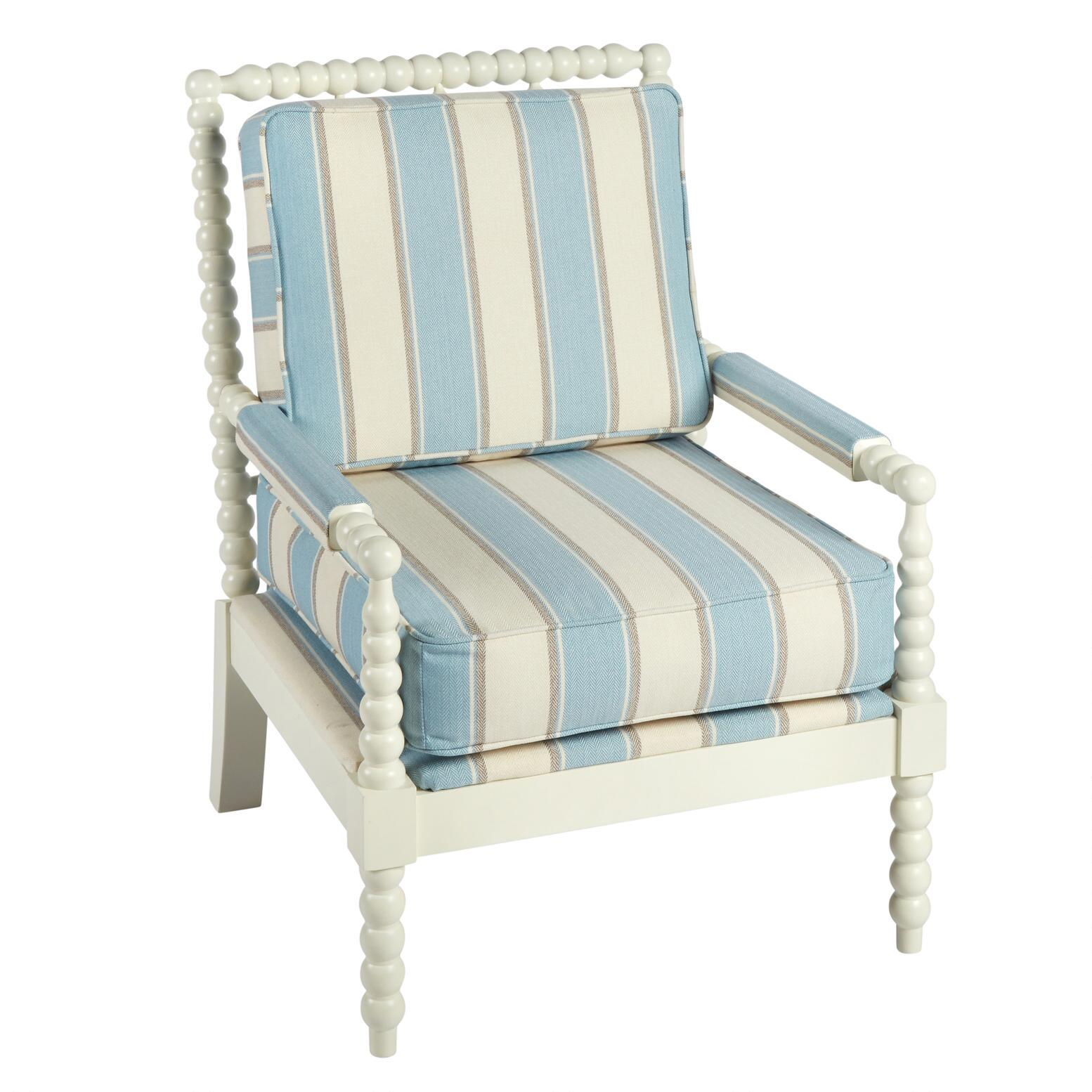 blue and white upholstered chairs hooked chair pad patterns stripe ball frame christmas tree shops that