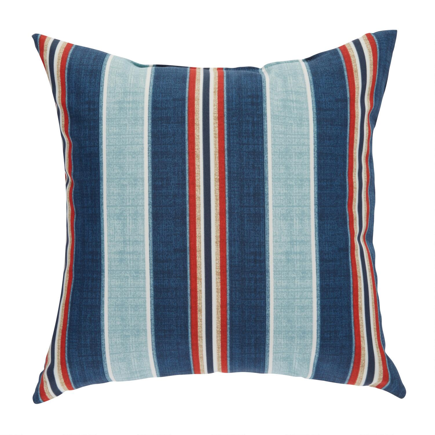 blue red stripe indoor outdoor square throw pillow