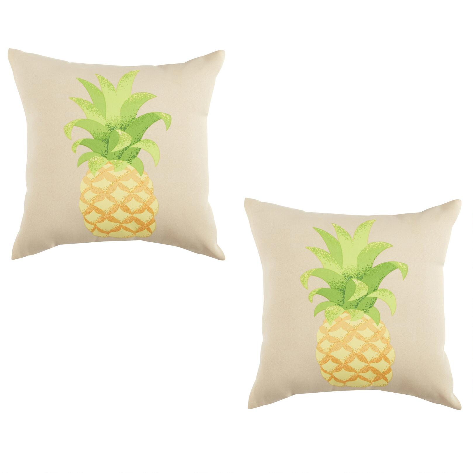 pineapple indoor outdoor square throw pillows set of 2