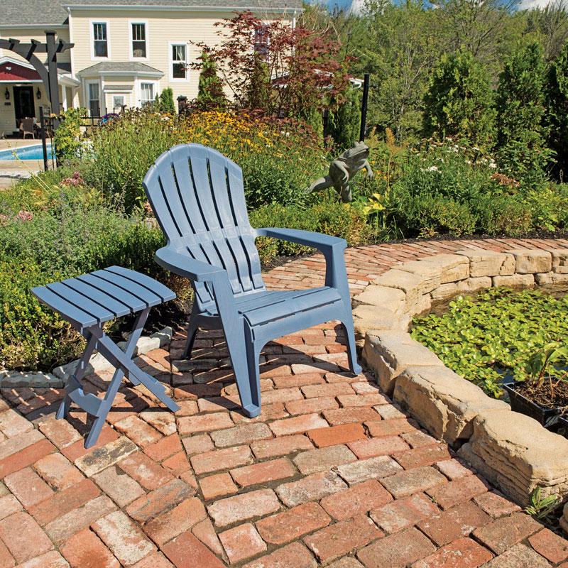 cheap lawn chair classic ikea patio chairs deck and at ace hardware adams realcomfort bluestone polypropylene adirondack