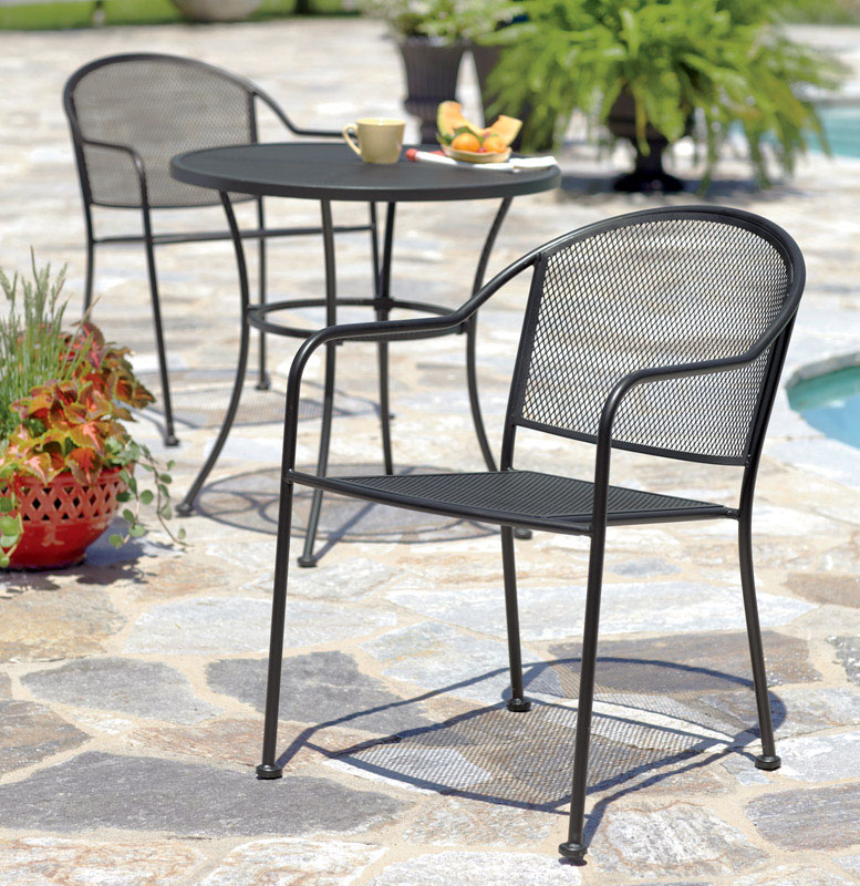 hard plastic outdoor rocking chairs rolling office chair patio deck and lawn at ace hardware living accents seville black wrought iron with mesh stackable