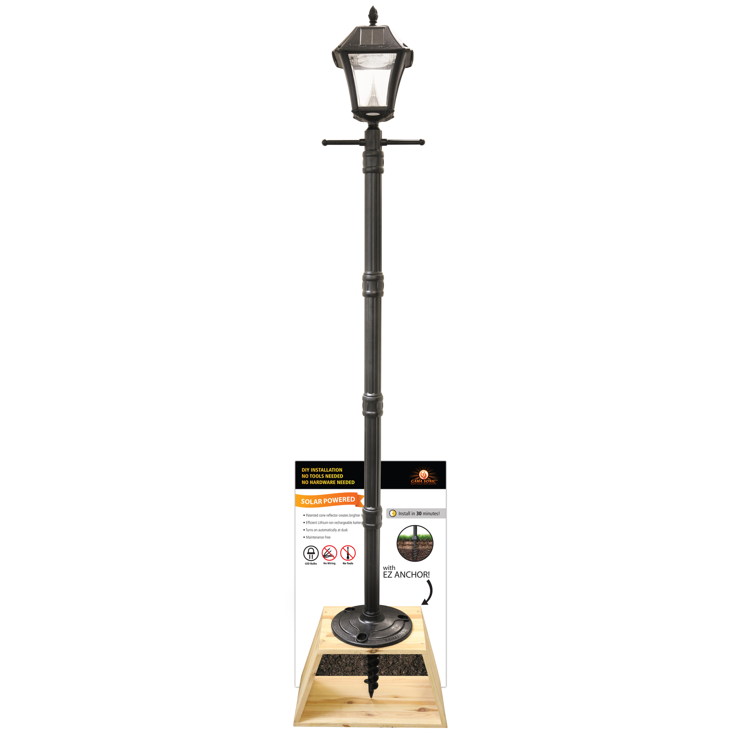 gama sonic baytown 2 black solar powered led post light and lamp post 1 pk ace hardware [ 1500 x 1500 Pixel ]