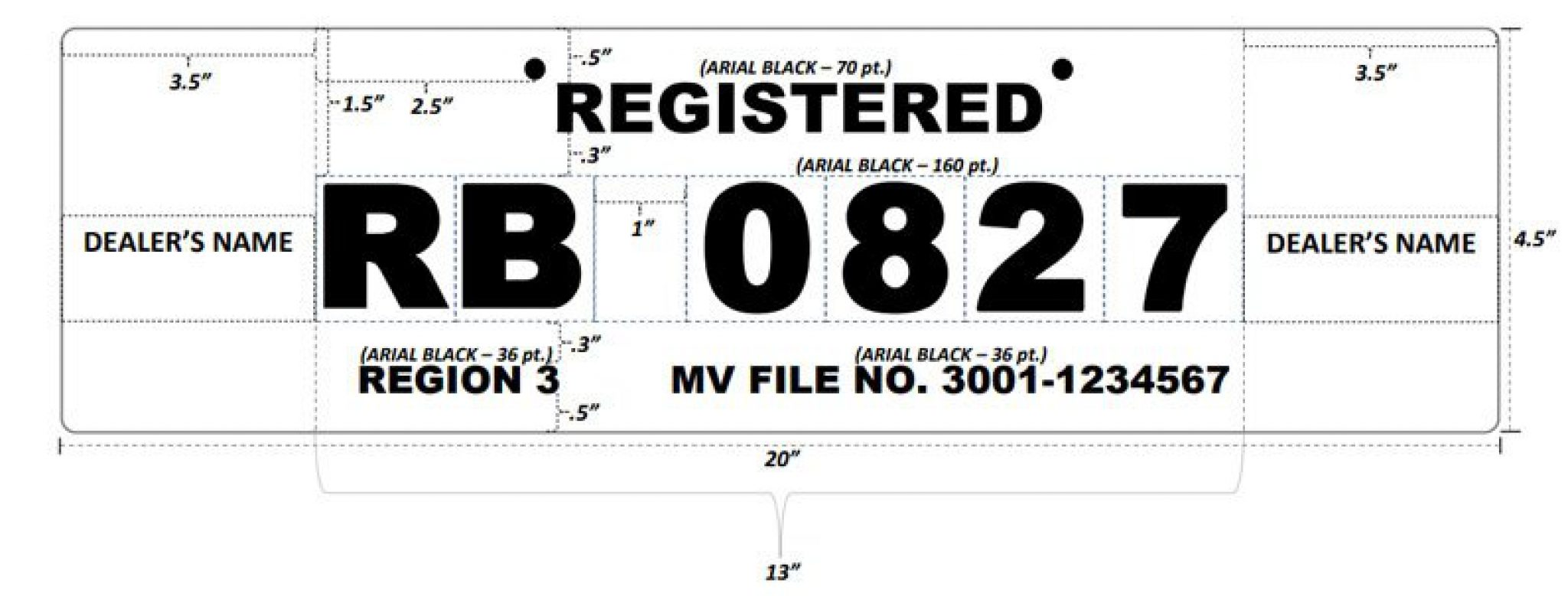 Texas temporary paper license plate template