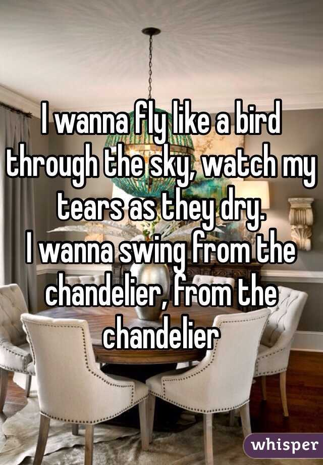 I Wanna Fly Like A Bird Through The Sky Watch My Tears As They Dry Swing From Chandelier
